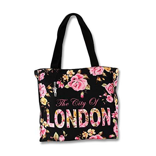 LONDON Blumen Henkeltasche Schultertasche schwarz pink Canvas Robin Ruth D4OTG206S Schultertasche präsentiert von IMPPAC
