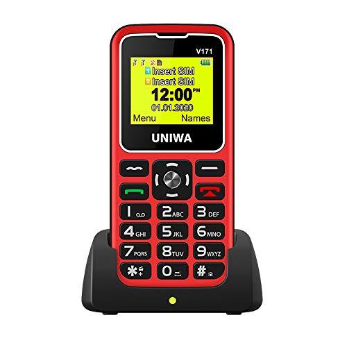 Teléfonos móviles para Mayores con Teclas Grandes, fácil de Usar Celular para Ancianos con botón SOS, Cámara (Rojo)