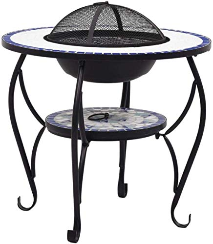 NMT Inlaid fire pit table with four-leg barbecue grill table garden backyard patio camp fireplace,Blue and White