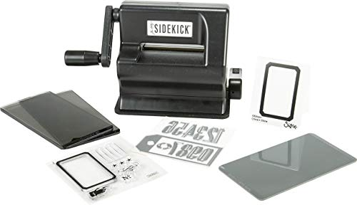 "Sizzix Portable Manual Die Cutting & Embossing Machine for Arts & Crafts, Scrapbooking & Cardmaking, 2.5"" Opening, One Size, Tim Holtz Sidekick Starter Kit"
