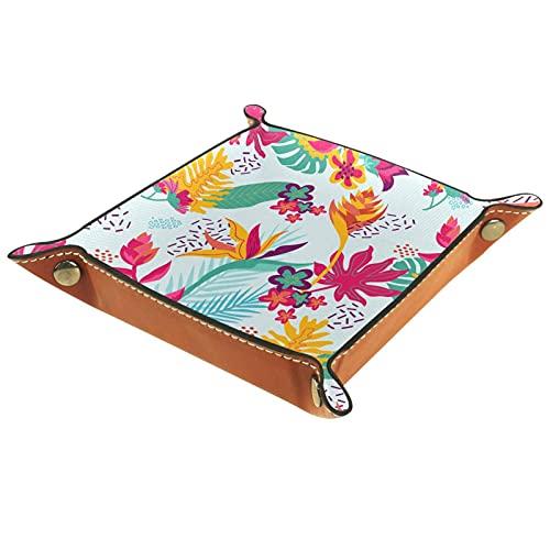 Caja organizadora de fondo floral exótico colorido para joyas, cosméticos, gafas, auriculares, oficina, uso en el hogar
