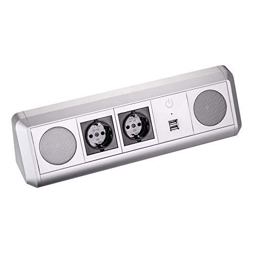 SO-TECH® Stereo Bluetooth Lautsprecher TOBO Soundbox mit 2 Schuko Steckdosen und zwei USB Ports zum Aufladen von Smartphones - Design trifft auf Funktion