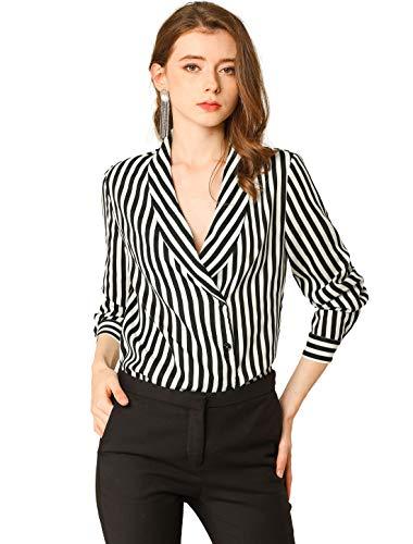 Allegra K Women's Collared Long Sleeve Chiffon Office Striped Shirt Blouse Medium Black