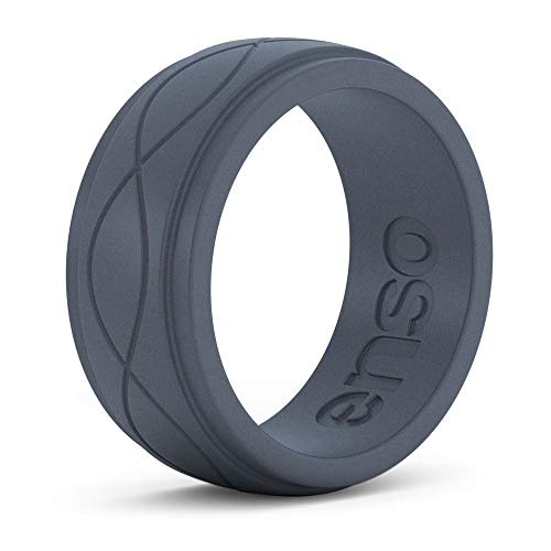 Enso Rings Men's Infinity Silicone Ring – Hypoallergenic Wedding Band for Men – Comfortable Band for Active Lifestyle – 9mm Wide, 2.25mm Thick (Slate, 13)