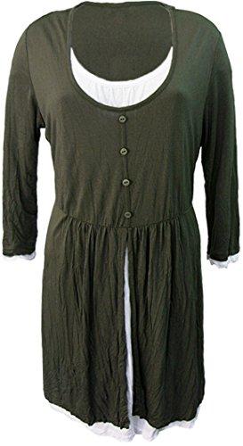 ERFO - Longshirt, Khaki (grün) Weiss mit Einsatz (Tunika)
