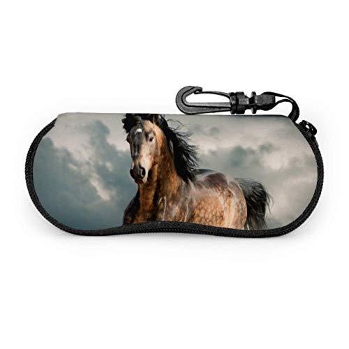 Running Walk Horse Animal Wild Estuche para gafas para mujer Estuche para gafas de sol Estuche para niños Ligero Portátil de neopreno Estuche blando Estuche blando para gafas de sol