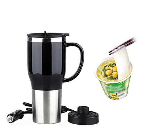 CRETUAO Hot Water Heater Mug for Car - Car Electric Kettle Heated Stainless steel Portable Cigarette Lighter Heating Cup Coffee Cup with Charger for Outdoor Students 12