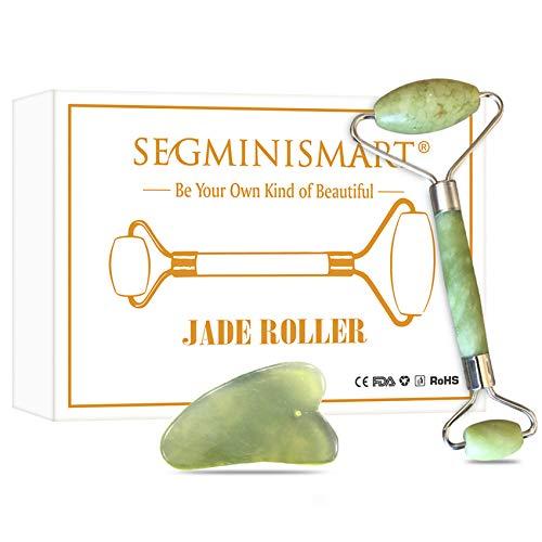Jade Roller, Jade Face Roller, Jade Roller Massagegerät, Jade Roller und Gua Sha Set, Für Anti Aging, Therapie, Muskel Entspannung Massagegerät