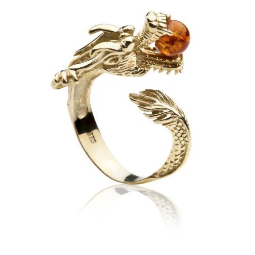 InCollections Damen-Ring 333/000 Gold mit Bernstein Größe von 52-64 verstellbar, Drachen 0020173415100