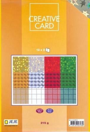 JEJE Produkt Creative Card Set, Papierblock, 24 Blatt, A5 gemustertes Spiegelkarton, 215 gr, 12 Motive x 2