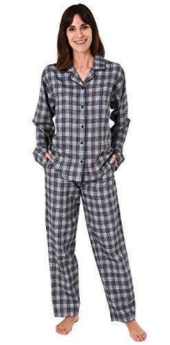 Damen Flanell Pyjama Schlafanzug Langarm kariert – auch in Übergrößen 281 201 95 991, Farbe:grau, Größe2:36/38