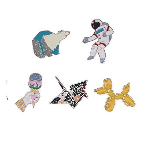 Miss charm Miles De Grullas De Papel Creative Insignia Oso Polar Spaceman Broche De Aleación De Gota De Aceite Balloon Dog Collar De Helados