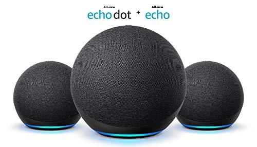 Multi Room Music Starter Kit | Echo (4th Gen) + 2 Echo Dot (4th Gen), Charcoal