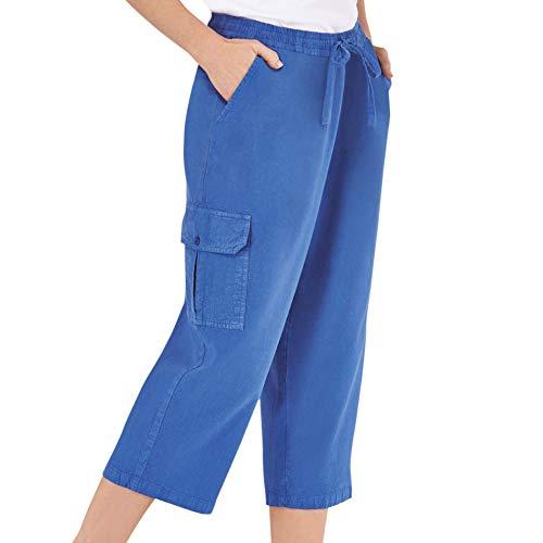 Women's Elastic Waist Cargo Pocket Capri Pant, Royal Blue, Xx-Large