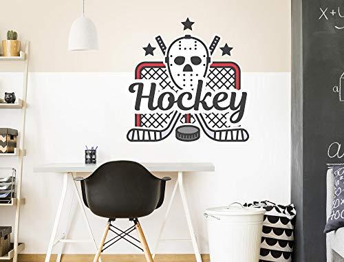 Jeugdkamer muur tatoeage hockey letters met masker en rackets muur sticker tiener decoreren sport sticker gemakkelijk aan te brengen en verwijderd