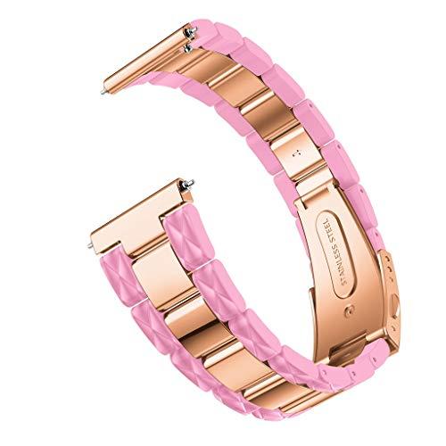 Crazboy Band, Edelstahl Schnellverschluss Easy Fit Armband für Samsung Galaxy Watch 42mm (Pink)