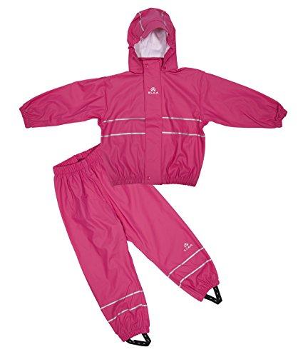 Elka regenpak regenbroek + regenjas voor kinderen, water- en winddicht, gestreept of eenkleurig, vele kleuren en maten 220 g/polyester