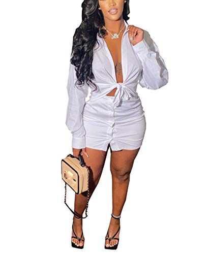 Women Sexy 2 Piece Club Outfits - Long Sleeve Self Tie Front...