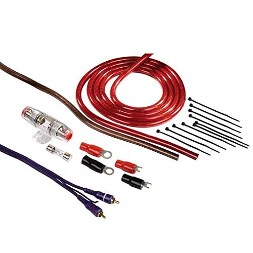 Hama Anschluss-Set für Car Hifi-Verstärker, AMP-Kit mit Powerkabeln (16 mm²), Cinchkabel, Sicherungshalter, Sicherung, Gabelkabelschuhen und Kabelbinder