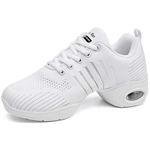 Women's Jazz Shoes Lace-up Sneakers - Breathable Air Cushion Lady Split Sole Dance Zumba Walking Shoes Platform White,8