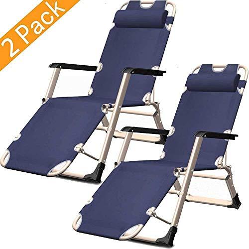 Tragbare Schwerelosigkeits-Liegestühle 2, klappbarer Liegestuhl Verstellbare Rückenlehne Sonnenliege Klappbarer Liegestuhl Garten für die Mittagspause im Büro Home Nap-Liege Liegende Sonnenl