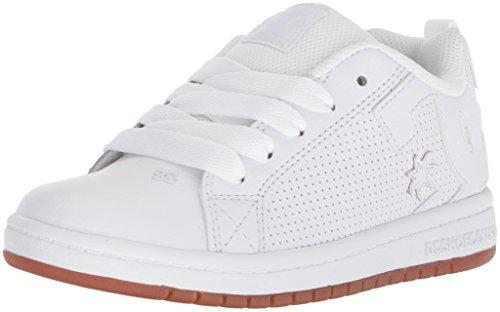 DC Kids' Court Graffik Sneaker Skate Shoe, White/White/Gum, 13 M US Little Kid