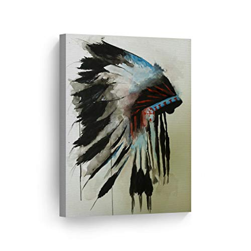 INDIAN WALL ART Native American Chiefs Headdress Feathered Watercolor Canvas Print Home Decor Decorative Artwork Gallery Wrapped Wood Stretched and Ready to Hang - %100 Handmade in the USA - 17x11