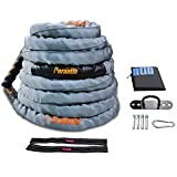 Perantlb 100% Poly Dacron Heavy Grey Battle Rope - 2', 30' 40' 50' Length - Upgraded Durable Protective Sleeve - Gym Muscle Toning Metabolic Workout Fitness - Anchor Strap Kit Included (2' x 30 ft)
