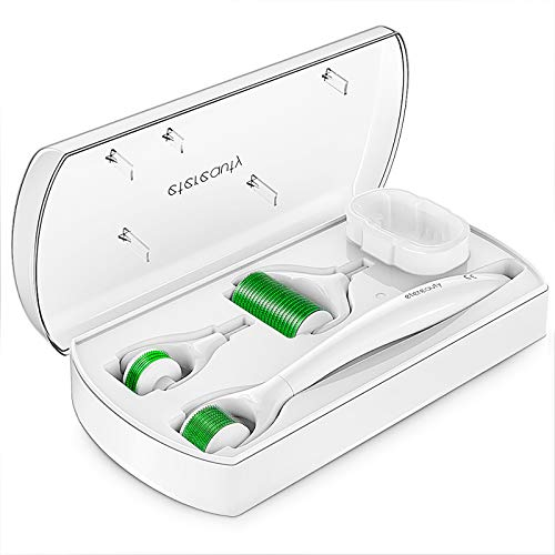 Derma Roller Microneedling Kit, ETEREAUTY 0.25mm Micro Needles Beauty Cosmetic Products with 3 Replacable Roller Heads for Skin Care Face, Body, Beard and Hair Growth-Includes Free Storage Case