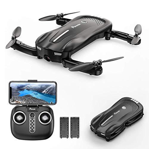 Potensic Drone D18 Pieghevole con Fotocamera 1080P a Flusso Ottico WiFi PFV Quadricottero con Due Batteria 16-20 Minuti di Volo Mantenere l'Altitudine Drone RC Anti-collisione per Bambini e Adulti
