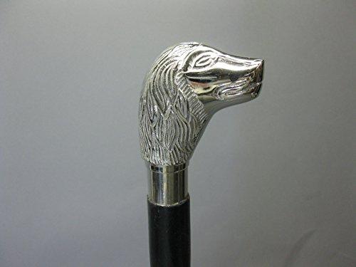 Bois Canne Canne Bâton de marche 91 cm avec poignée en métal chien Walking Clé M90