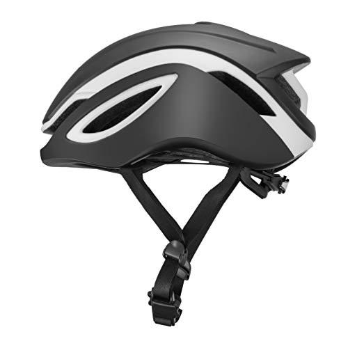 ROCK BROS Aero Road Bike Helmet TT Triathlon Aero Cycling Helmet Adjustable M L for Road Race Mountain Bikes Men Women Blackwhite-L
