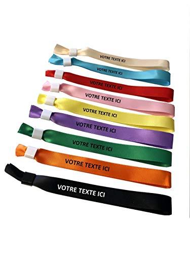 Armband van stof, personaliseerbaar met de door u gewenste tekst, voor evenementen, 100 stuks