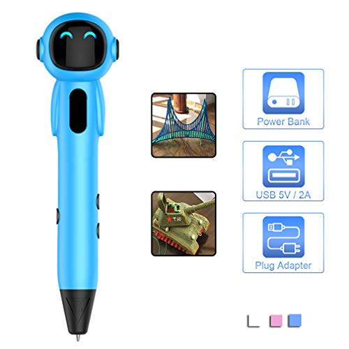 HWUKONG 3D Printing Pen for Kids,DIY 3D Drawing Pen Graffiti Pen Professional with LED Display, USB Charging, Non-Clogging,Blue