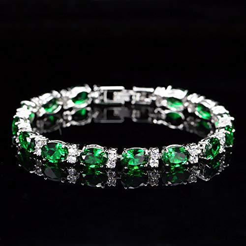 DGFGCS Ladies silver bracelet 925 Sterling Silver Emerald Sapphire Ruby Amethyst Gemstone Bangle Charm Bracelet Fine Jewelry