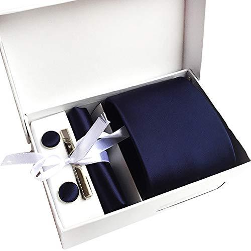 JUNGEN Corbata de Hombre Juego de Corbata con pañuelo Caja de Regalo Corbata con Pañuelo Gemelos Clip de Corbata Corbata Lisa en Color Liso Corbata Elegante de Regalo Azul Oscuro