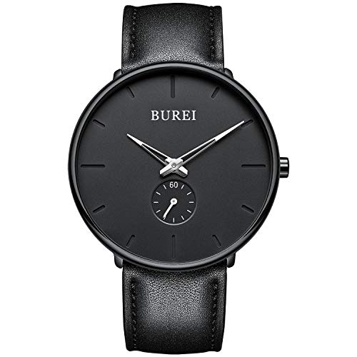 BUREI Herren Uhren Quarz Armbanduhr Schwarz Analoganzeige Schlichtes Design Klassisches weiches Lederband
