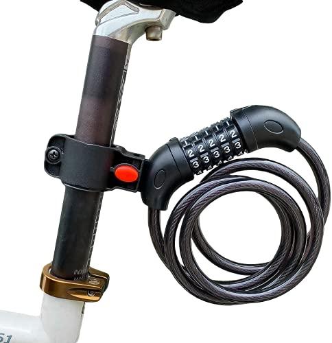 ARCH-GLOBAL 自転車 鍵 ダイヤル ロック 5桁  防水 最新2020 錆びにくい亜鉛合金強化モデル  バイクロック < 接続ホルダー2個付 > 1200㎜ 自由設計 ケーブルロック ロードバイク  メーカー正規品 一年保証