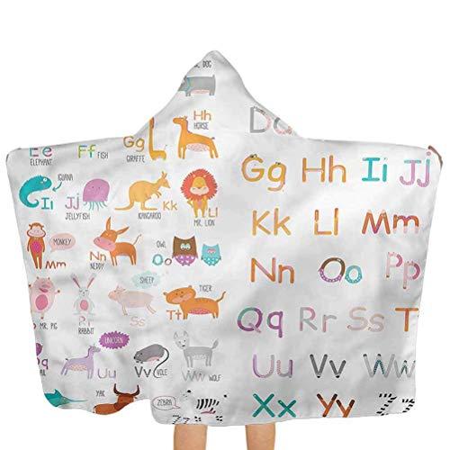 ZHSL Toalla para bebé con capucha Niños, colorido Alfabeto temático del zoológico Toalla de baño 100% algodón con capucha para niños pequeños Niñas Niños Bebé 51.5x31.8 pulgadas
