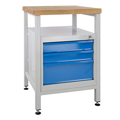 ADB Werkbank Werktisch 600x600x840 mm mit 3 Schubladen RAL 7035/5012
