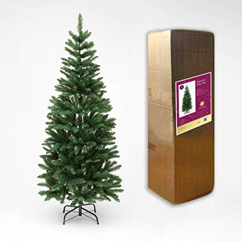 SHATCHI Slim Pine Green Tree Christmas Holiday Festive Xmas Home Decorations with Pencil Point Tips, 4FT-8FT, Metal, 6Ft