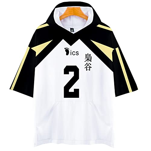 YZJYB Hommes Femmes Anime Haikyuu Cosplay T-Shirt À Capuche 3D Cosplay Fukurodani High School Costume À Manches Courtes Tee Chemises Tops Sportswear,Multi Colored,4XL