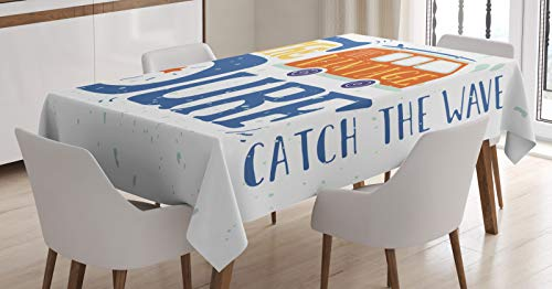 ABAKUHAUS 1970 Mantele, Vintage Surf Catch Wave, Resistente al Agua Lavable Colores No Destiñen Personalizado, 140 x 240 cm, Noche Azul Naranja