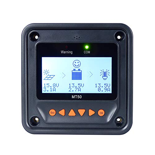 EPEVER Remote Meter MT50 for MPPT Solar Charge Controller LCD Display Monitoring Setting Reading Datas Suitable for EPEVER EPsolar Series Solar Controller Regulator