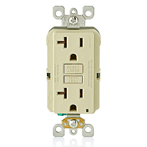Leviton GFNT2-I Self-Test SmartlockPro Slim GFCI Non-Tamper-Resistant Receptacle with LED Indicator, Wallplate Included, 20-Amp, Ivory