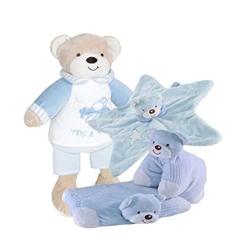 Tris & Ton Pack regalo recién nacido peluche (30cm) doudou estrella y cojín guarderia o cuna. Cesta original niño niña (trisyton) (celeste)