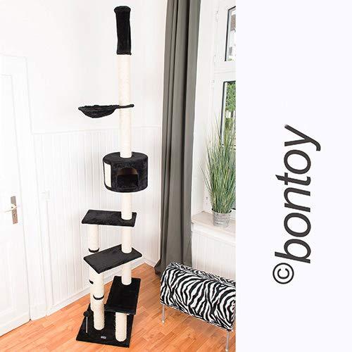Bontoy Kratzbaum Pascha | Deckenhoch | mit 3 Ebenen | Farbe schwarz | 240cm - 260cm | Sisalstämme mit 9cm Durchmesser | für Deckenhöhe von 240-260cm | weitere Deckenhöhe auf Anfrage