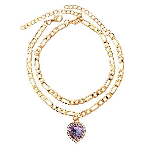 Brazalete De Tobillo 2 Piezas / Conjunto De Multicolor En Forma De Corazón Pulsera De Tobillera De Cristal De Copos Anklet Anklet Ladies Foot Jewelry-W