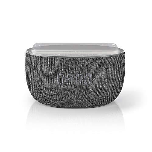 Nedis - Bluetooth® Speaker met Draadloos Laden - 30 W - Tot 6 uur afspeeltijd - Ingebouwde 2000 mAh batterij - Ingebouwde microfoon - Wekkerradio - Grijs
