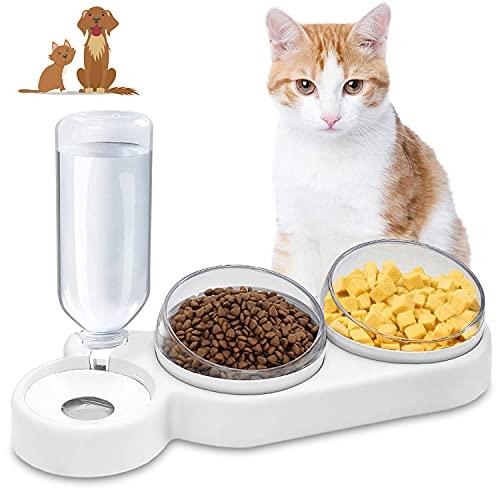 Doppelnapf für Katzen,15 ° Neigung Anti-Erbrechen Katzenschüssel,3 in 1Futternapf Katzen,mit automatischem Wasserspender,Doppelte Futternapf kleine und mittlere Katzen und Hunde